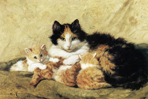 Art Prints of A Proud Mother by Henriette Ronner Knip