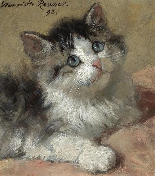 Art Prints of An Inquisitive Kitten by Henriette Ronner Knip