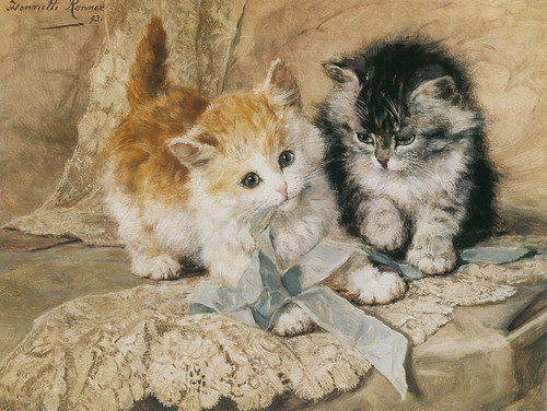 Art Prints of Kittens and Bows by Henriette Ronner Knip