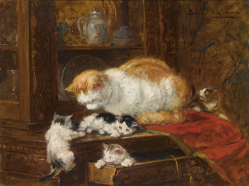 Art Prints of Playing Time by Henriette Ronner Knip