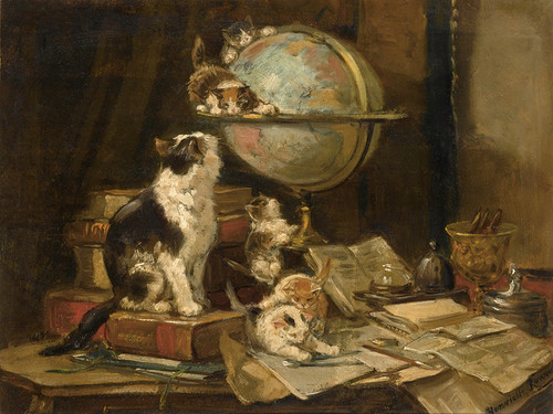 Art Prints of Playful Kittens in a Study by Henriette Ronner Knip