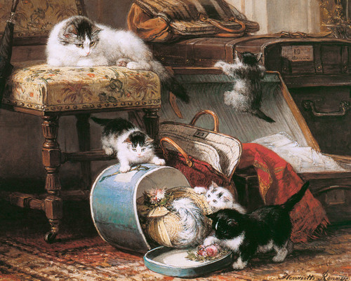 Art Prints of The New Hat by Henriette Ronner Knip