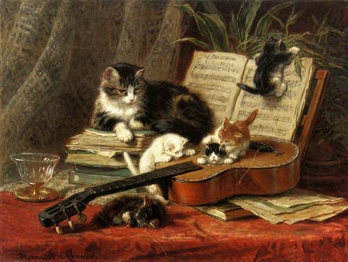 Art Prints of The Guitar Lesson by Henriette Ronner Knip