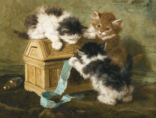 Art Prints of Three Kittens with a Casket and Blue Ribbon by Henriette Ronner Knip