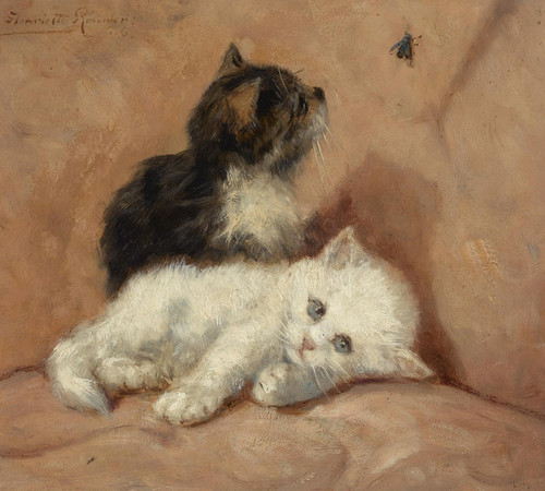 Art Prints of Two Kittens and a Bug by Henriette Ronner Knip