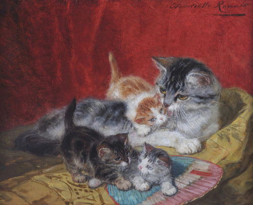Art Prints of Mother Cat and Kittens by Henriette Ronner Knip