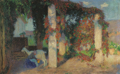 Art Prints of Girl Milking a Cow by Henri-Jean Guillaume Martin
