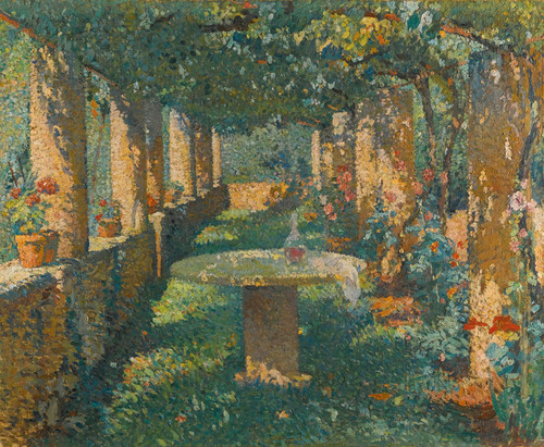 Art Prints of Pergola Marquayrol, After the Summer Meal by Henri-Jean Guillaume Martin