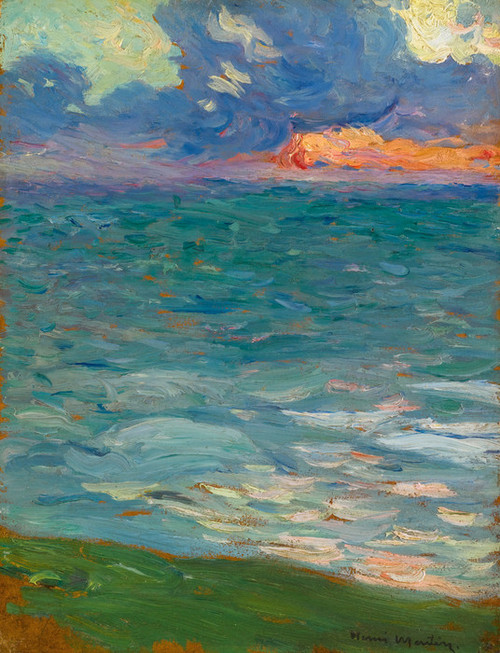 Art Prints of Seaside at Sunset by Henri-Jean Guillaume Martin