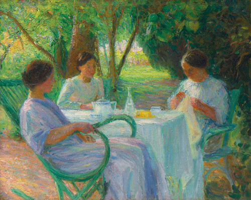Art Prints of Young Women in the Garden by Henri-Jean Guillaume Martin