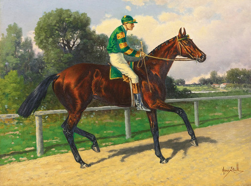 Art Prints of Bay with Jockey Up in Green and Yellow Silks by Henry Stull