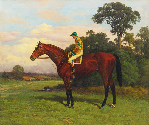 Art Prints of Jockey on a Bay in Green and Yellow Silks by Henry Stull