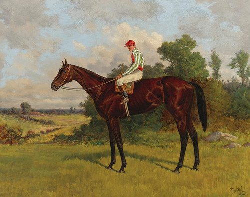 Art Prints of Racehorse with Jockey Up by Henry Stull