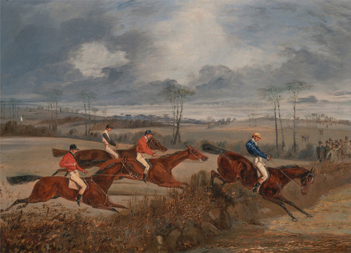 Art Prints of Scene from a Steeplechase, Taking a Hedge by Henry Thomas Alken