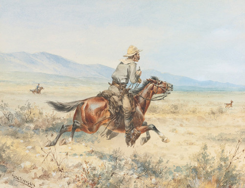 Art Prints of Chasing a Pronghorn by Herman Wendelborg Hansen