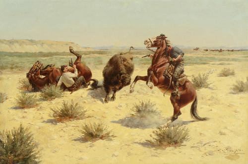 Art Prints of Buffalo Attack by Herman Wendelborg Hansen