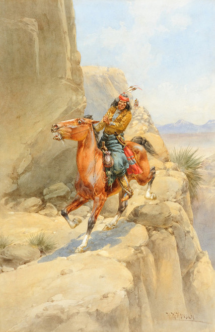 Art Prints of Apache on a Trail by Herman Wendelborg Hansen