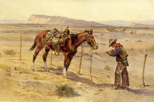 Art Prints of Fence Rider Mending a Barbed Wire Fence by Herman Wendelborg Hansen