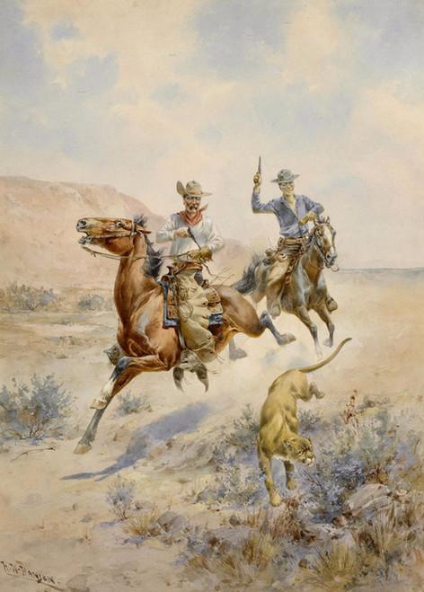 Art Prints of Pursuing a Mountain Lion by Herman Wendelborg Hansen