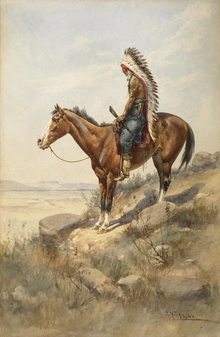 Art Prints of The Outpost, Crow Indian by Herman Wendelborg Hansen