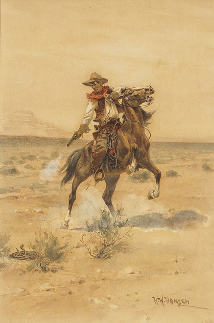 Art Prints of Shooting a Rattler by Herman Wendelborg Hansen