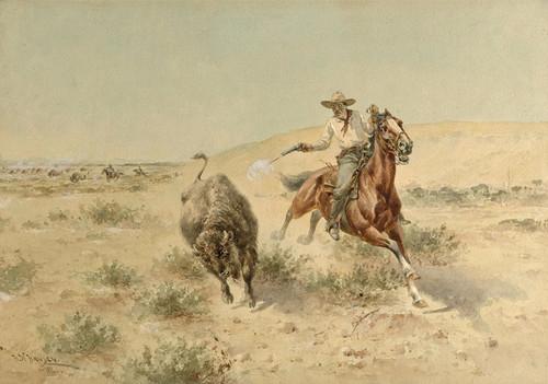 Art Prints of Buffalo Hunt by Herman Wendelborg Hansen