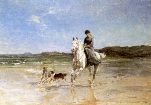 Art Prints of A Girl on a Grey Horse Cantering with Two Dogs by Heywood Hardy