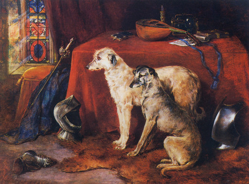 Art Prints of Deerhounds in an Interior by Heywood Hardy