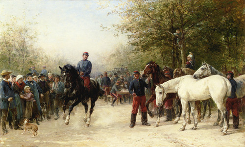 Art Prints of French Troops Billeting by Heywood Hardy