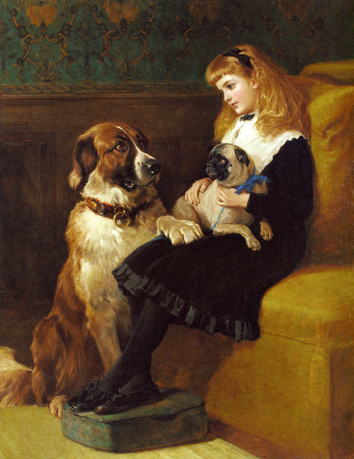 Art Prints of Her Only Playmates, Pug and St. Bernard, 1870 by Heywood Hardy