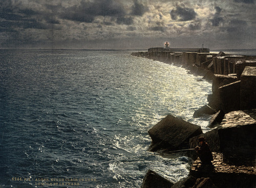 Art Prints of Moonlight View with Lighthouse, Algiers, Algeria (387065)
