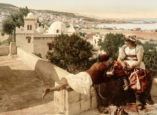 Art Prints of Moorish Woman and Child on a Terrace I, Algiers, Algeria (387093)