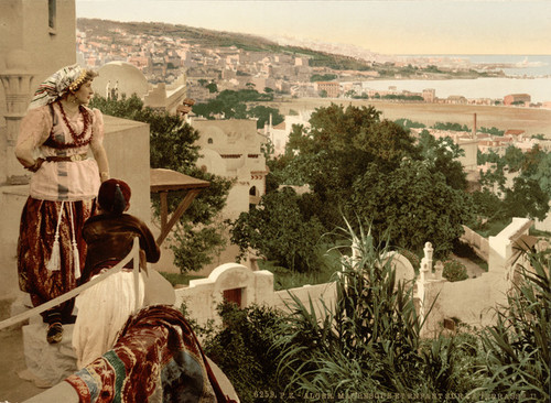 Art Prints of Moorish Woman and Child on a Terrace II, Algiers, Algeria (387094)