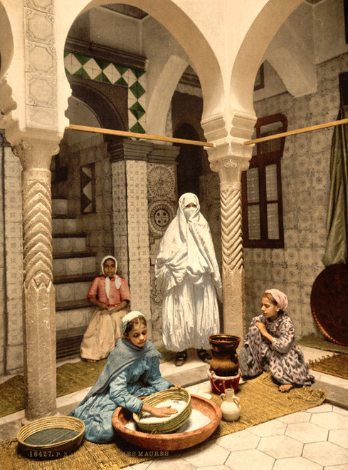 Art Prints of Moorish Women Preparing Couscous, Algiers, Algeria (387103)