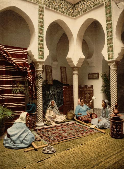 Art Prints of Moorish Women Making Arab Carpets, Algiers, Algeria (387104)