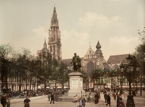 Art Prints of Place Verte and Cathedral, Antwerp, Belgium (387135)