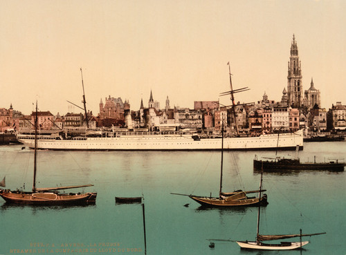 Art Prints of North German Lloyd Steamer, La Prusse, Antwerp, Belgium (387139)