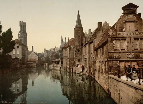 Art Prints of Canal and Belfry, Bruges, Belgium (387158)