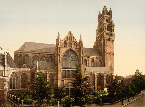Art Prints of The Cathedral of St. Sauveur, Bruges, Belgium (387164)
