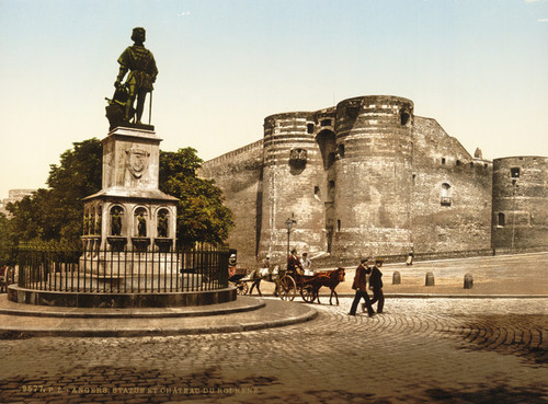 Art Prints of Statue and Castle of King Rene, Angers, France (386967)