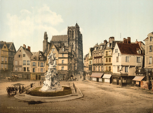 Art Prints of St. Vulfran and Square of Admiral Courbet, Abbeville, France (386958)