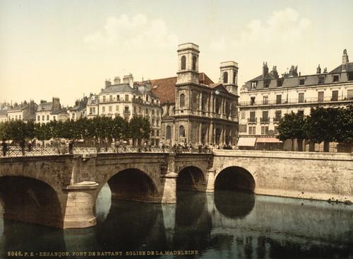 Art Prints of The Swing Bridge and Madeleine Church, Besancon, France (386989)
