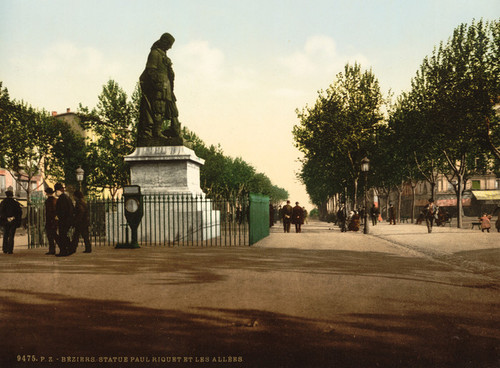 Art Prints of Statue Paul Riquet and the Allees, Beziers, France (386993)