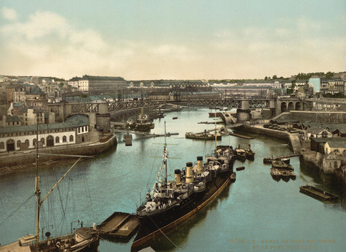 Art Prints of The Port Militaire and Swing Bridge, Brest, France (387006)