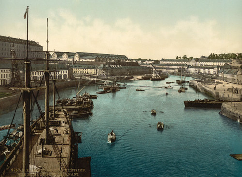 Art Prints of The Port Militaire and Swing Bridge, Brest, France (387007)