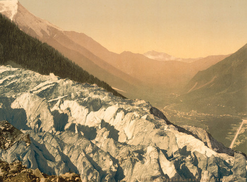 Art Prints of Mer de Glace and Valley of Chamonix, Chamonix Valley, France (387032)