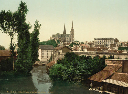 Art Prints of The Eure and New Bridge, Chartres, France (387045)