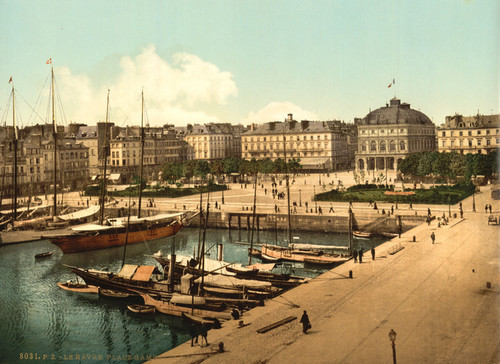 Art Prints of The Place Gambetta and Docks, Havre, France (387304)