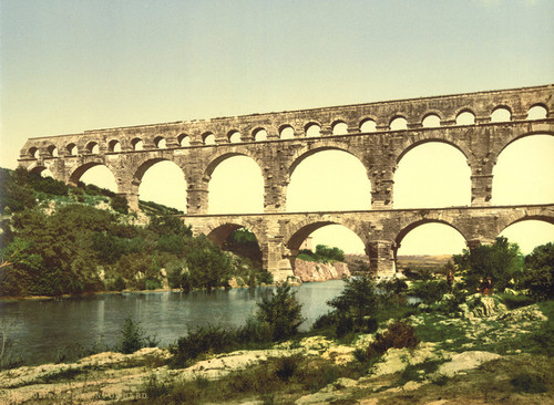 Art Prints of Roman Bridge Over the Gard, Nimes, France (387401)