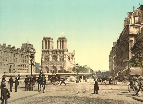 Art Prints of Notre Dame and St. Michael Bridge, Paris, France (387436)